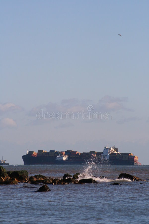 Naufrage. MVC Napoli. Janvier 2007 images libres de droits