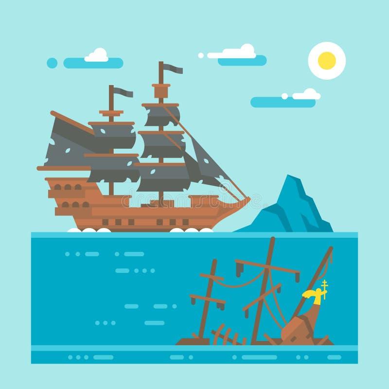 Naufrage plat de pirate de conception illustration de vecteur