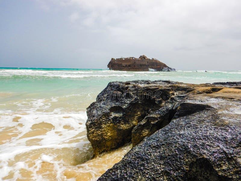 Naufrage sur la vue de boa, Cap Vert photographie stock