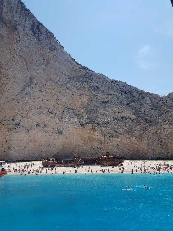Naufragio della spiaggia di Navagio, Grecia Zacinto fotografia stock libera da diritti