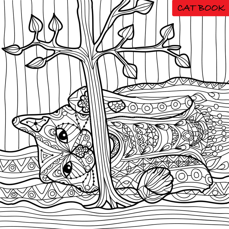 Naughty cat - coloring book for adults, zentangle patterns. Hand drawn illustration stock illustration