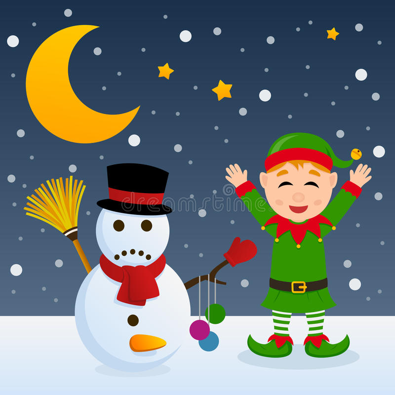 Naughty Christmas Elf and Snowman royalty free illustration