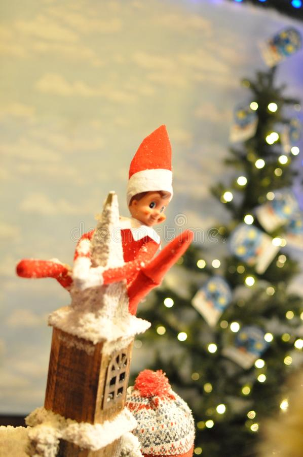 Naughty Elf on roof top stock image