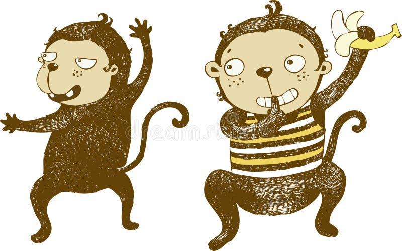 Naughty monkey with banana, cartoon , character- vector illustration