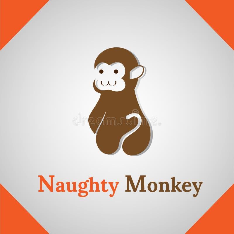 Naughty Monkey silhouette icon logo stock photo