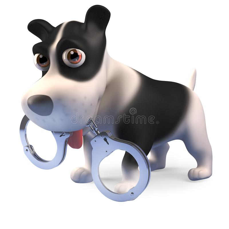 Naughty puppy dog has found a pair of handcuffs, 3d render vector illustration