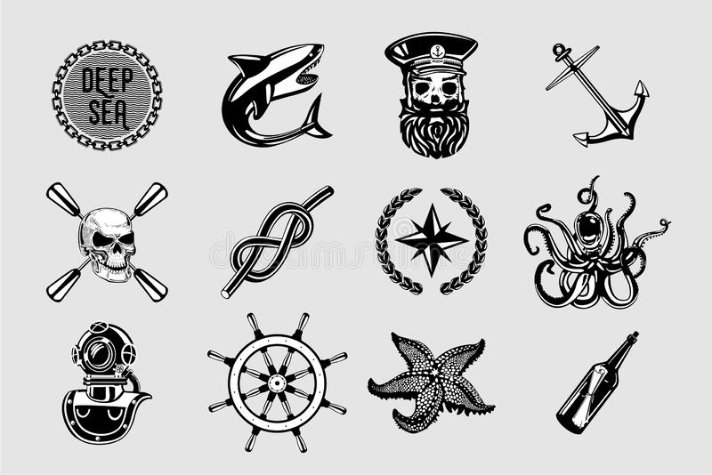 Nauitical icons set. Vintage marine signs collection with sailing elements. Sailor tattoo vector design. royalty free illustration