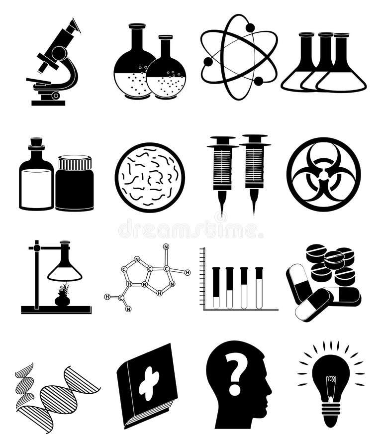Nauk medycznych ikony Ustawiać ilustracja wektor