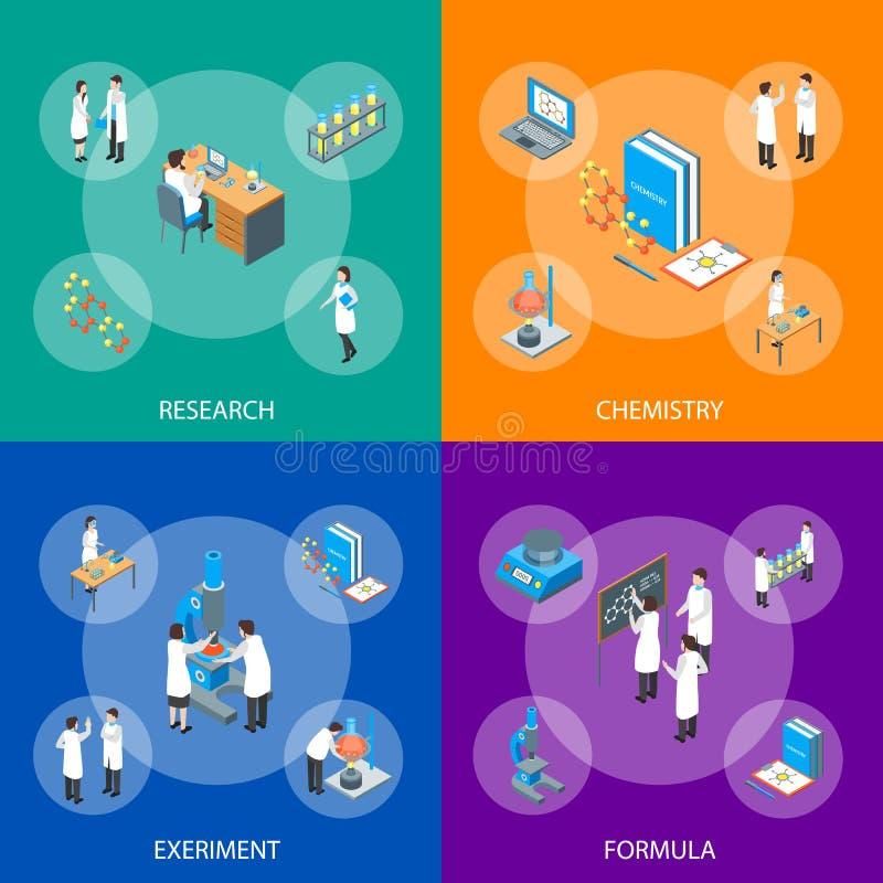 Nauka środka farmaceutycznego 3d Chemicznego sztandaru Ustalony Isometric widok wektor ilustracji