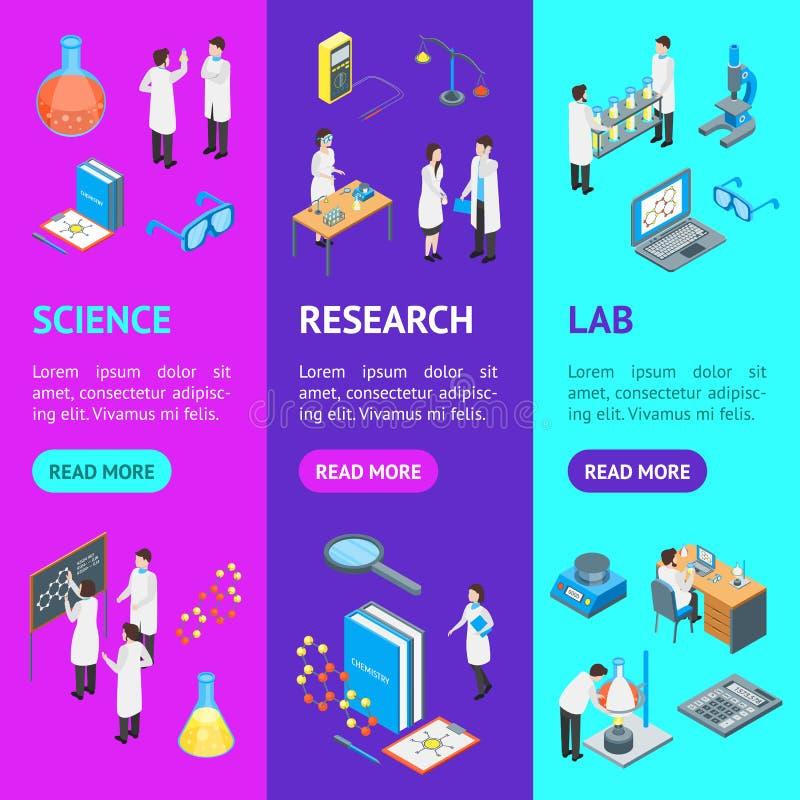 Nauka środka farmaceutycznego 3d Chemicznego sztandaru Vecrtical Ustalony Isometric widok wektor ilustracji