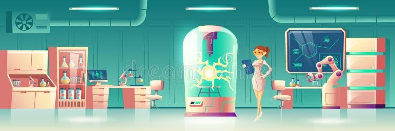 Nauka eksperyment w przyszłościowym laboranckim wektorze ilustracji