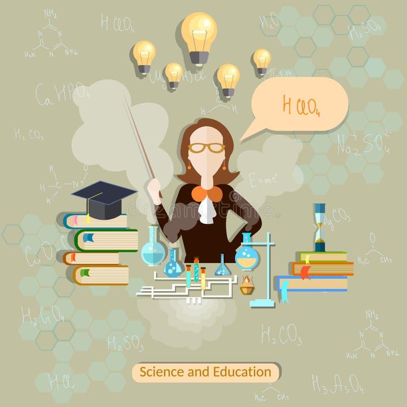 Nauka i edukacja, chemia nauczyciel, kobieta naukowiec ilustracja wektor