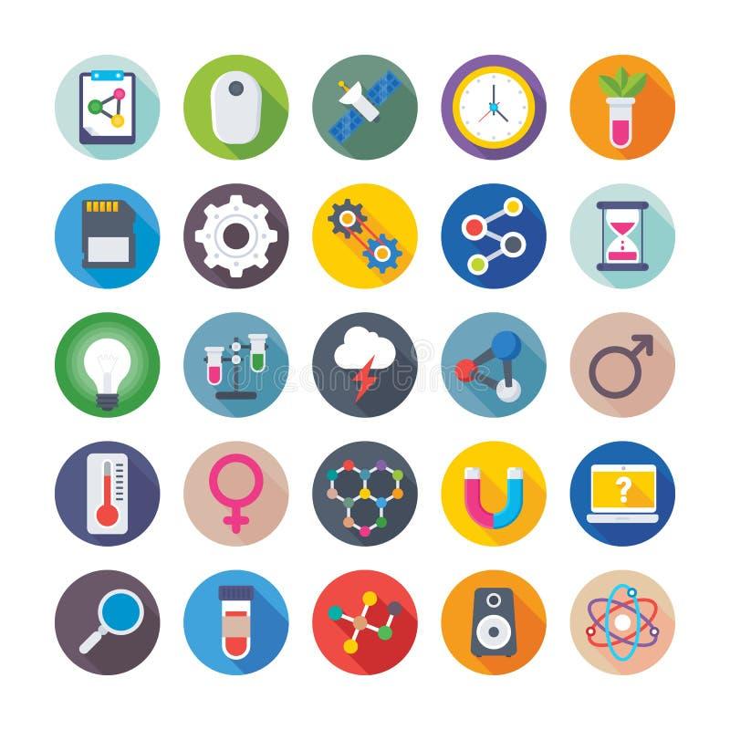 Nauka I Technika Barwione Wektorowe ikony 2 ilustracja wektor