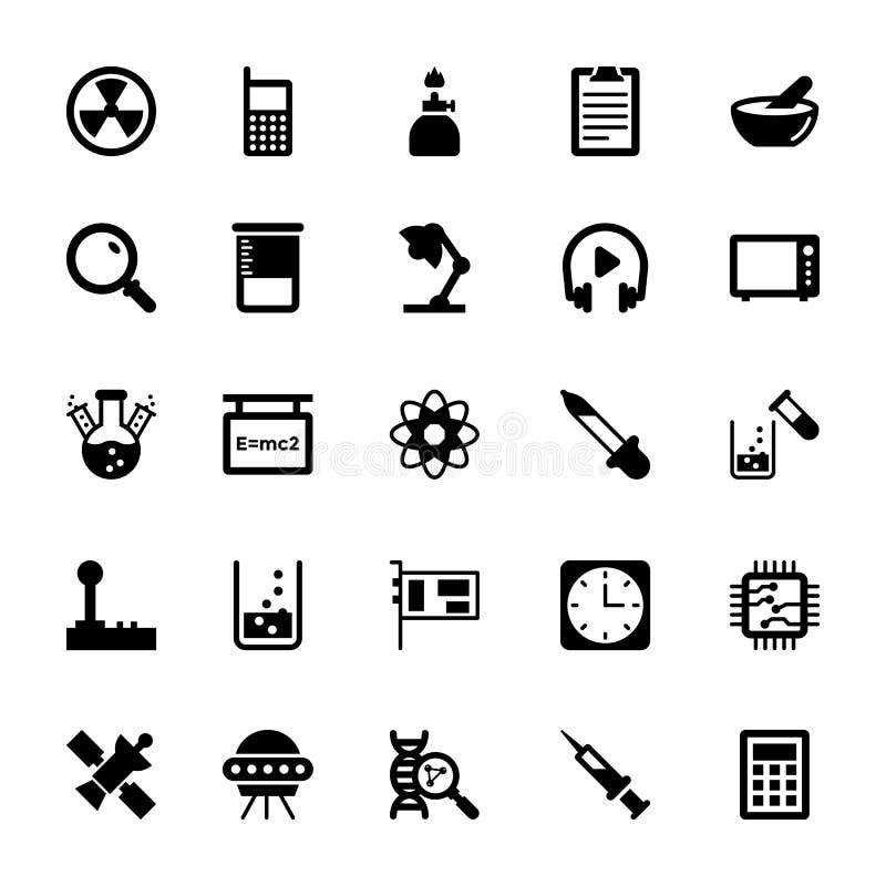 Nauka I Technika glifu Wektorowe ikony 13 royalty ilustracja