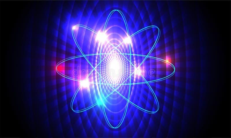 Nauka i technika pojęcie, atomowa struktura z jądrem na błękitnym abstrakcjonistycznym tle ilustracji