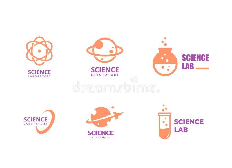 Nauka logo szablon, laborancki wektorowy logo wiąże, nauka emblemat royalty ilustracja