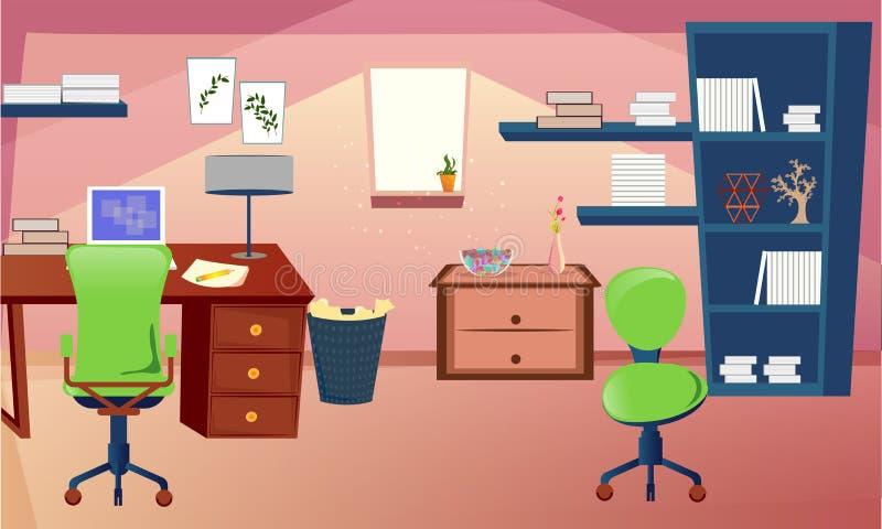Nauka pokój lub żywy izbowy wewnętrzny projekt ilustracji