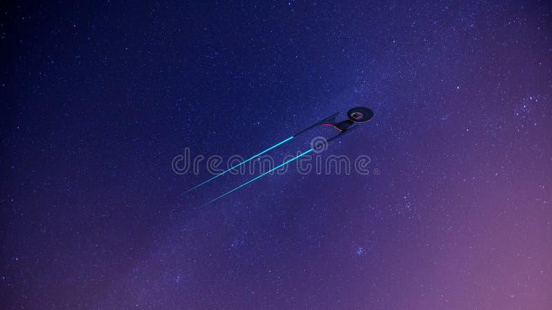 Nauka Powieściowy wizerunek starship w głębokiej przestrzeni i droga mleczna na tle Wallpeprer ilustracja wektor
