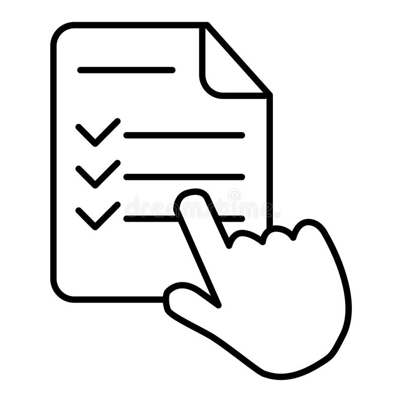 Nauka programa cienka kreskowa ikona, e uczenie i edukacja, palec na lista znaka wektorowych grafika, eps 10 ilustracji