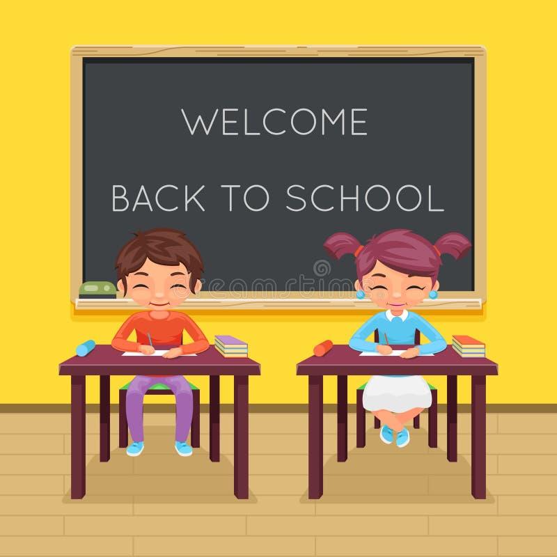 Nauka ucznia uczeń siedzi klasy biurka stołowej edukaci dziecka charakteru ikony sala lekcyjnej zarządu szkoły tła lekcyjnego wek royalty ilustracja