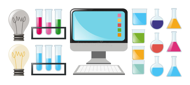 Nauka ustawiająca z zlewkami i komputerem ilustracja wektor