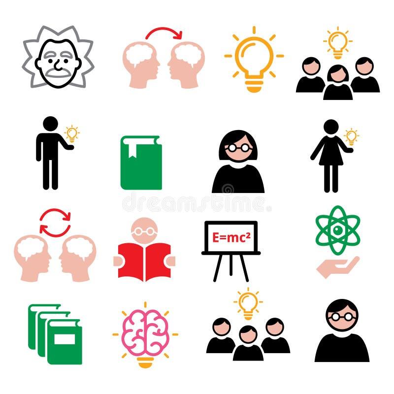 Nauka, wiedza, kreatywnie główkowanie, pomysł ikony ustawiać ilustracja wektor