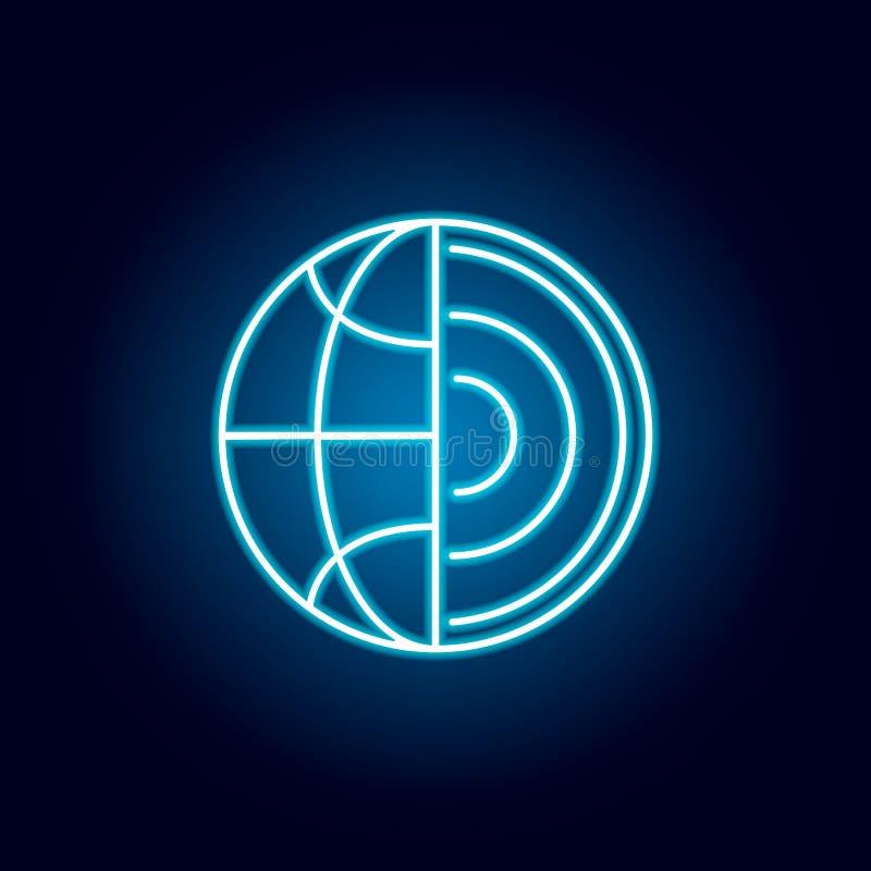 nauka, ziemia, jądrowa kontur ikona w neonowym stylu elementy edukacji ilustracji linii ikona znaki, symbole mogą używać dla royalty ilustracja