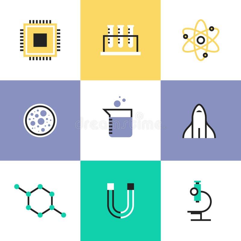 Nauki biologii i badania piktograma ikony ustawiać ilustracja wektor
