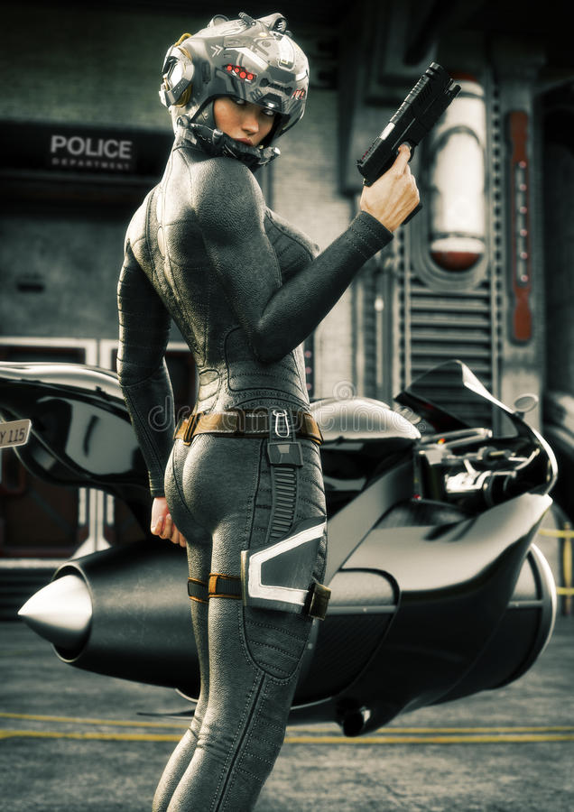 Nauki fikci żeński funkcjonariusz policji pozuje przed jej dżetowym rowerem, będący ubranym hełm i mundur ilustracji