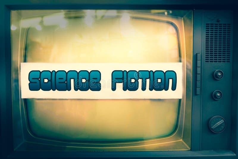 Nauki fikci filmu gatunku fantastyka naukowa telewizyjnej etykietki tv stary tekst zdjęcia stock