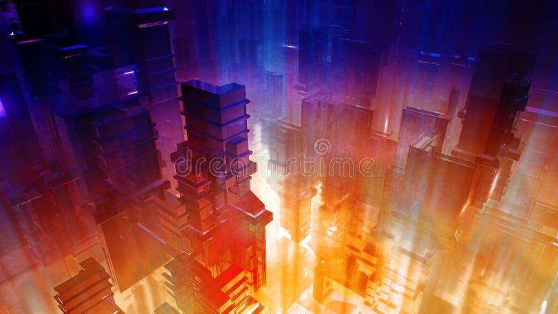 Nauki fikci Futurystyczny miasto royalty ilustracja
