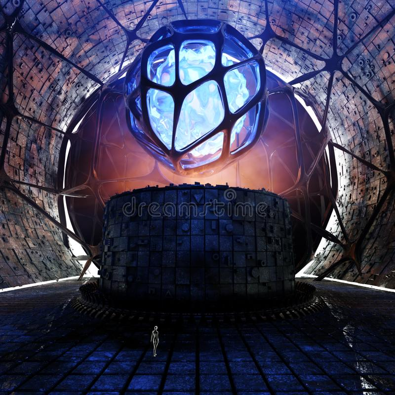 Nauki fikci pojęcia tunelu środowisko ilustracji