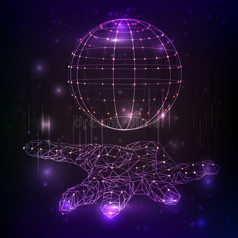Nauki fikci technologie mienie globalny w rękach w postaci gwiaździstej przestrzeni lub nieba royalty ilustracja