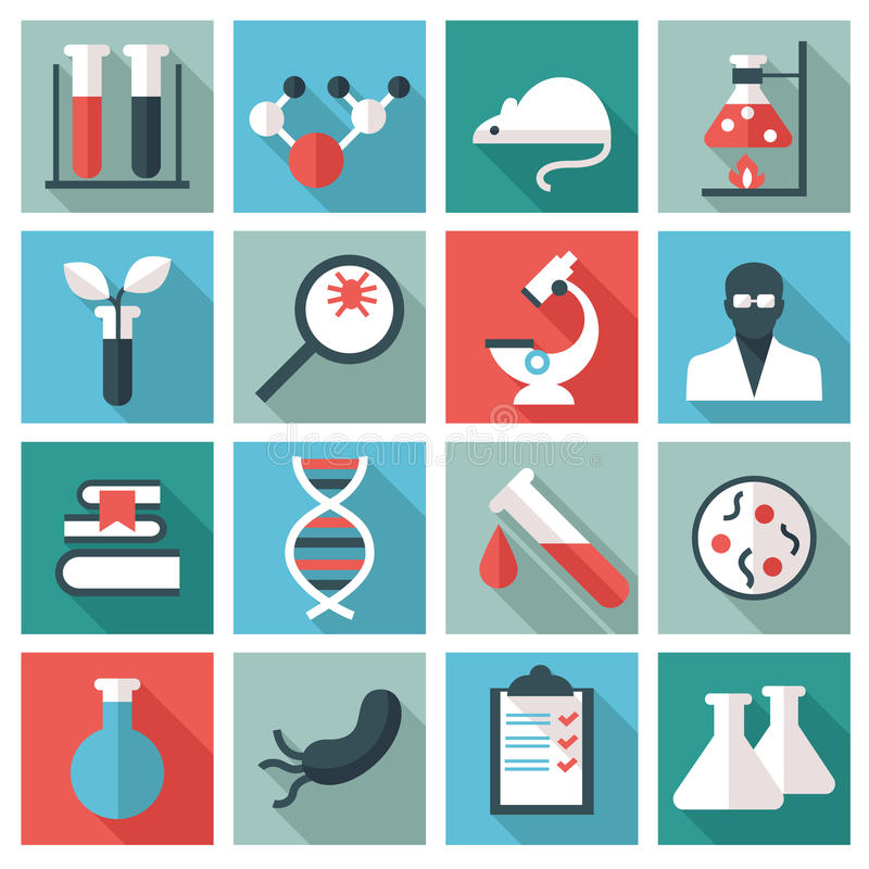 Nauki i badania ikony ilustracji