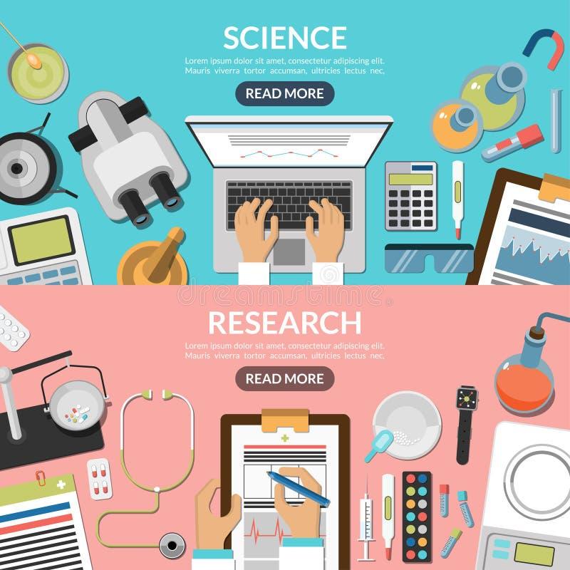 Nauki i badania płascy wektorowi tła ustawiający ilustracja wektor