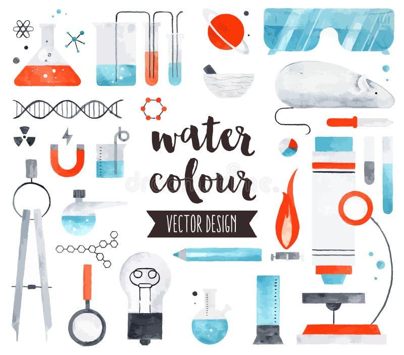 Nauki i chemii akwareli wektoru przedmioty ilustracja wektor