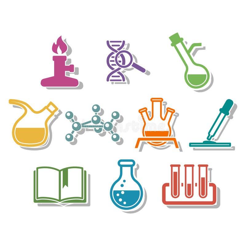 Nauki i chemii ikony set ilustracja wektor