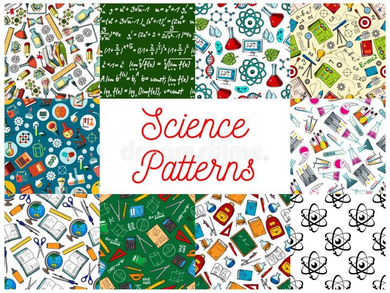 Nauki i edukaci bezszwowi wzory ustawiający ilustracji