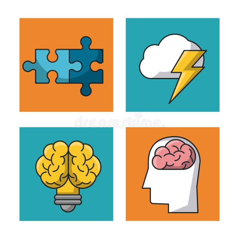 Nauki i pomysłów ikony ilustracja wektor