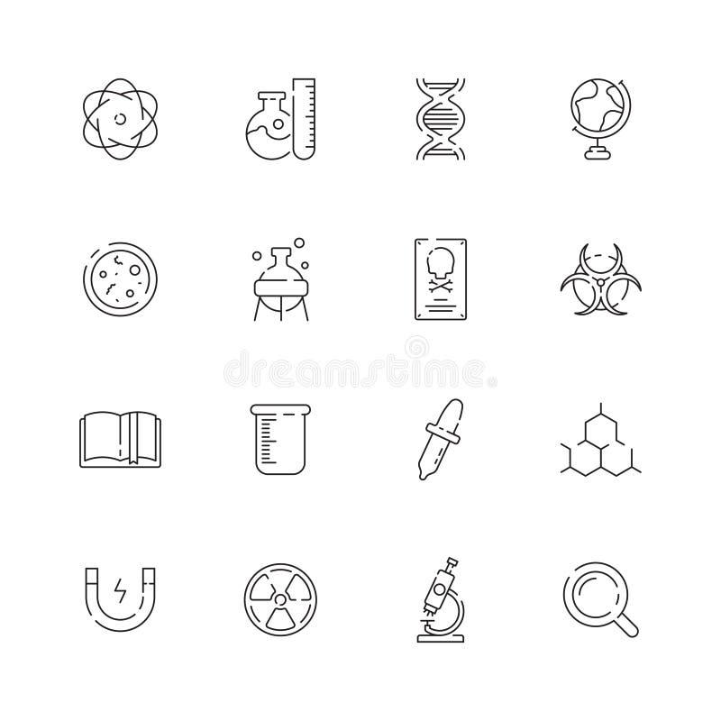 Nauki ikona Chemicznego laboranckiego wyposażenia substancji chemicznych struktury lab naukowego wektoru ciency symbole royalty ilustracja