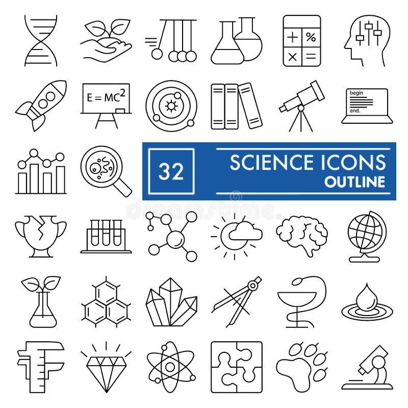 Nauki ikony kreskowy set, laboranccy symbole kolekcja, wektor kreśli, logo ilustracje, badanie znaki liniowi royalty ilustracja