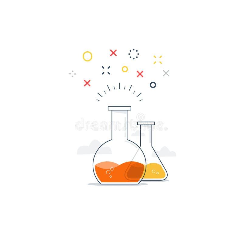 Nauki klasa, laborancka zabawa eksperymentu ikona i logo, ilustracji