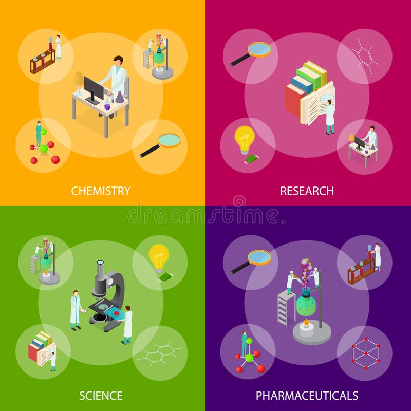 Nauki pojęcia Chemicznego Farmaceutycznego sztandaru Ustalony 3d Isometric widok wektor royalty ilustracja