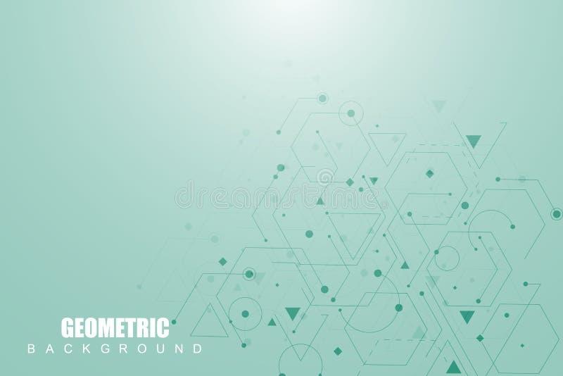 Nauki sieci wzór, złączone linie i kropki, Nowożytna futurystyczna wirtualna abstrakcjonistyczna tło molekuły struktura dla ilustracji