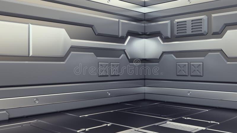 Nauki tła renderingu fantastyka naukowa statku kosmicznego beletrystyczni wewnętrzni korytarze, 3D ilustracja royalty ilustracja