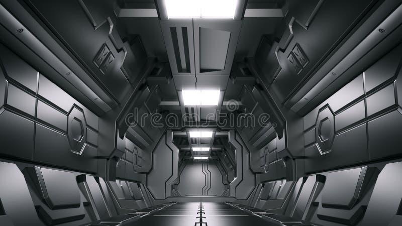 Nauki tła renderingu fantastyka naukowa statku kosmicznego beletrystyczni wewnętrzni korytarze, 3D rendering royalty ilustracja
