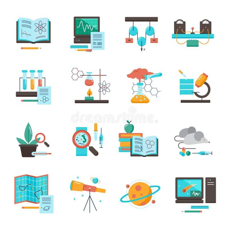 Nauki wyposażenia ikony set ilustracji