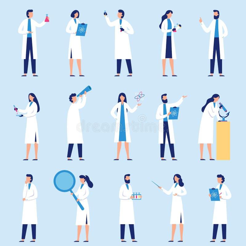 Naukowów ludzie Laboratorium naukowe pracownik, chemiczni badacze i naukowa profesora charakteru wektoru płaski set, royalty ilustracja