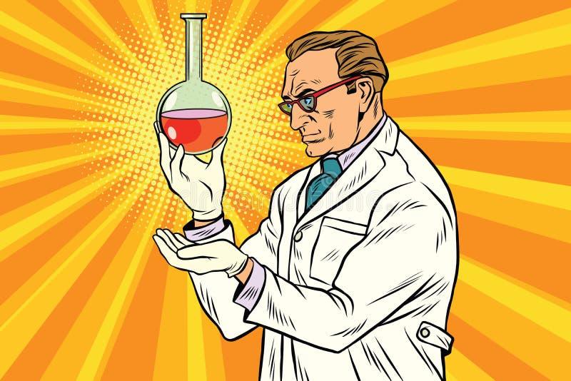 Naukowa chemik analizuje laborancką kolbę ilustracja wektor