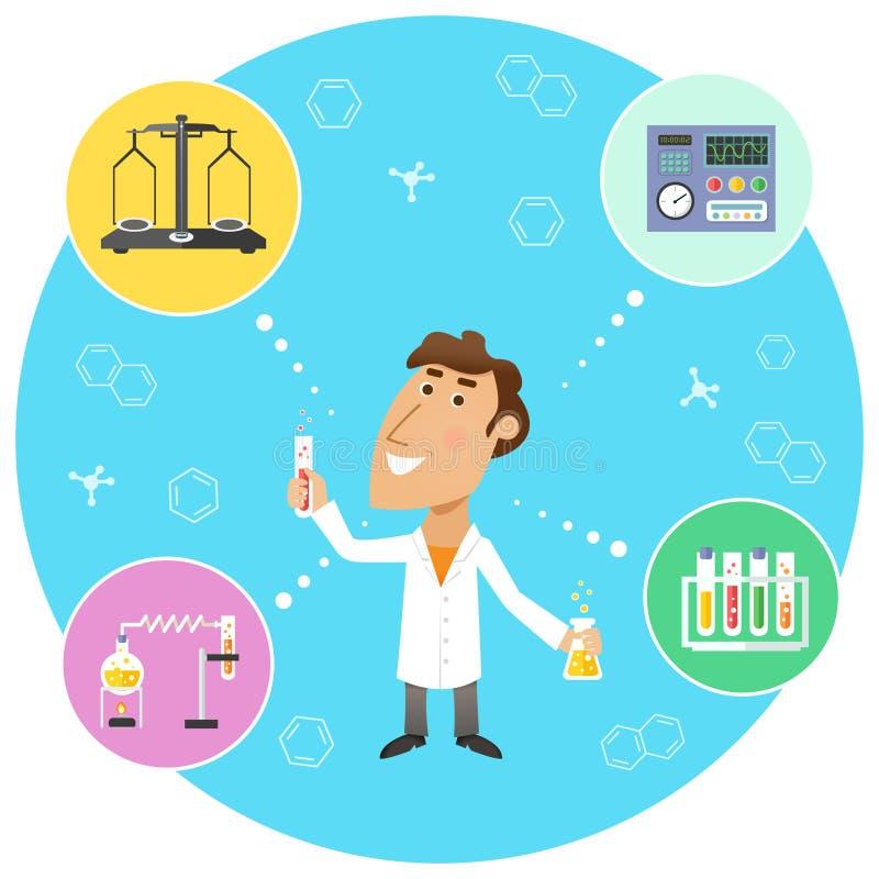 Naukowa chemik w lab ilustracja wektor